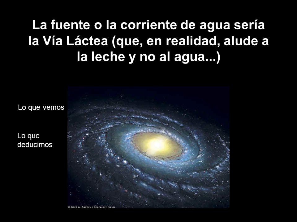 La fuente o la corriente de agua sería la Vía Láctea (que, en realidad, alude a la leche y no al agua...)