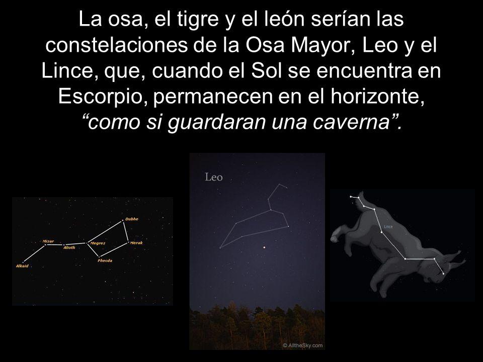 La osa, el tigre y el león serían las constelaciones de la Osa Mayor, Leo y el Lince, que, cuando el Sol se encuentra en Escorpio, permanecen en el horizonte, como si guardaran una caverna .