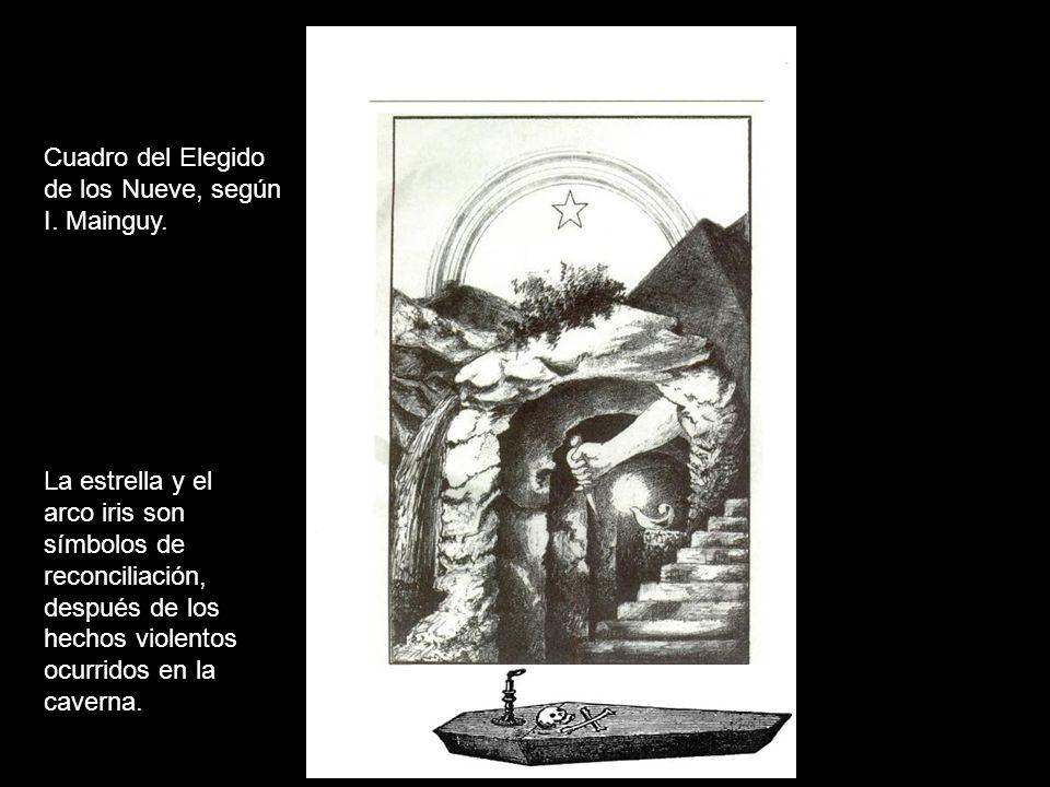 Cuadro del Elegido de los Nueve, según. I. Mainguy. La estrella y el. arco iris son. símbolos de.