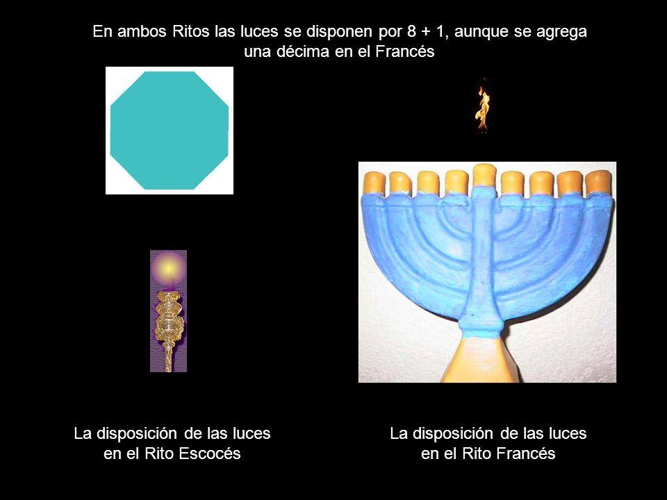 En ambos Ritos las luces se disponen por 8 + 1, aunque se agrega
