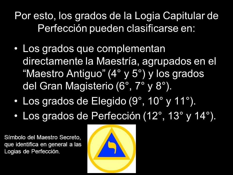 Los grados de Elegido (9°, 10° y 11°).