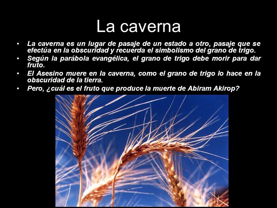 La caverna La caverna es un lugar de pasaje de un estado a otro, pasaje que se efectúa en la obscuridad y recuerda el simbolismo del grano de trigo.