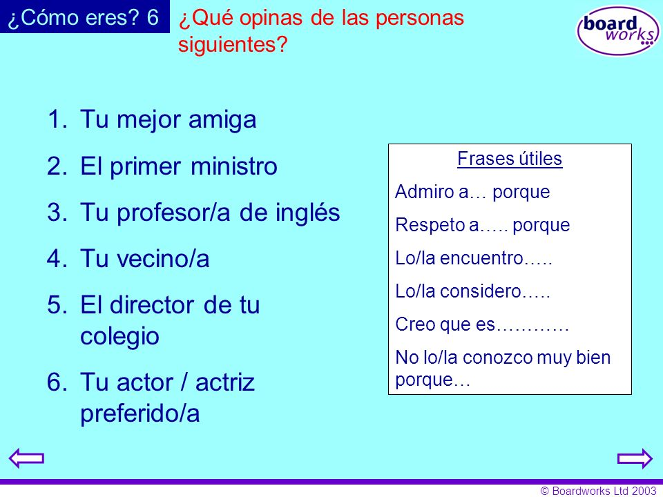 Tu profesor/a de inglés Tu vecino/a El director de tu colegio