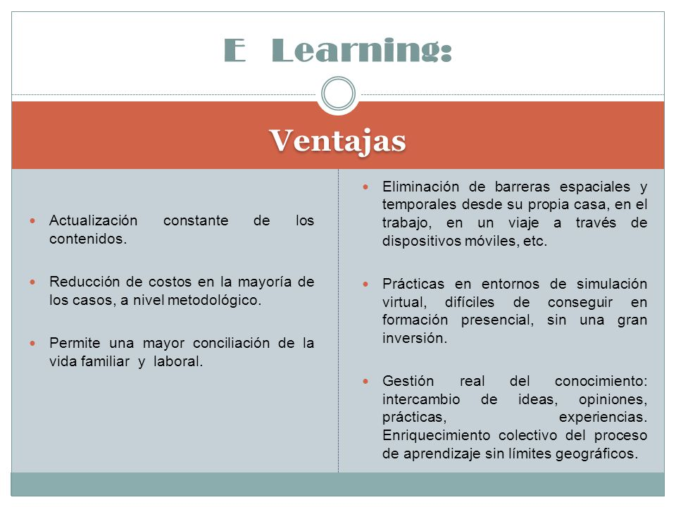 E Learning: Ventajas.