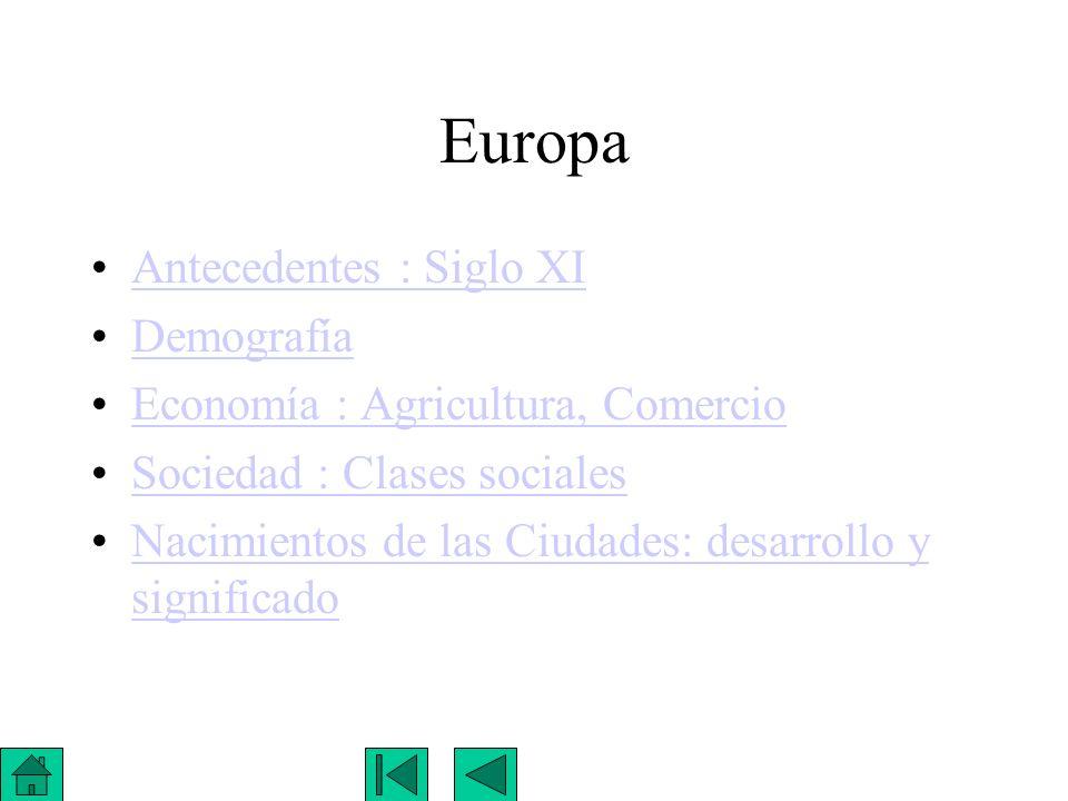 Europa Antecedentes : Siglo XI Demografía