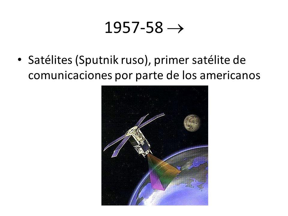 1957-58  Satélites (Sputnik ruso), primer satélite de comunicaciones por parte de los americanos