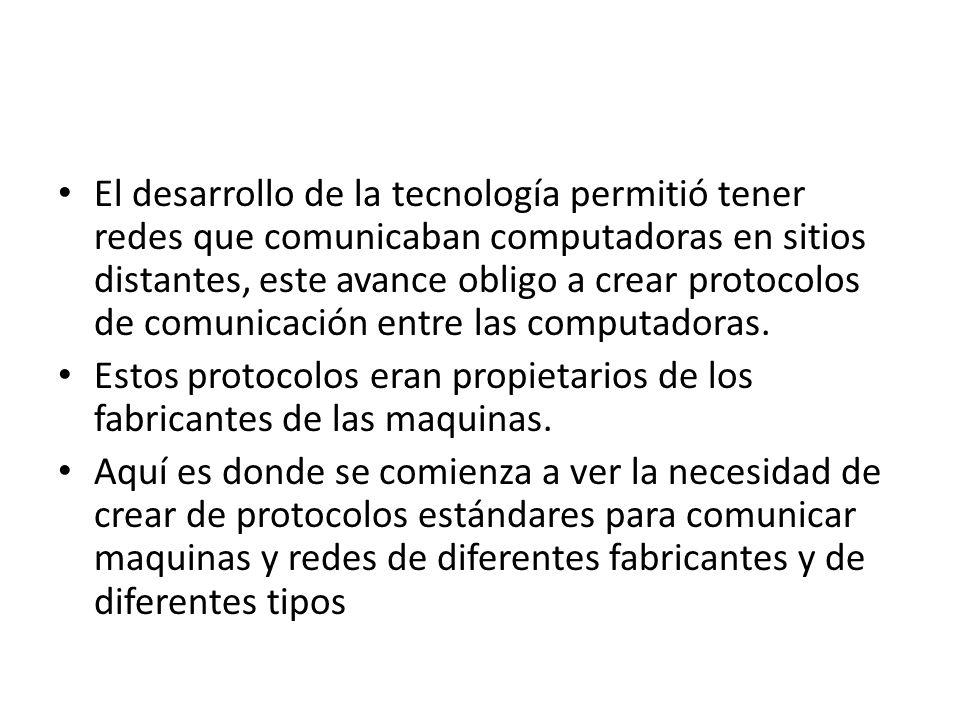 El desarrollo de la tecnología permitió tener redes que comunicaban computadoras en sitios distantes, este avance obligo a crear protocolos de comunicación entre las computadoras.