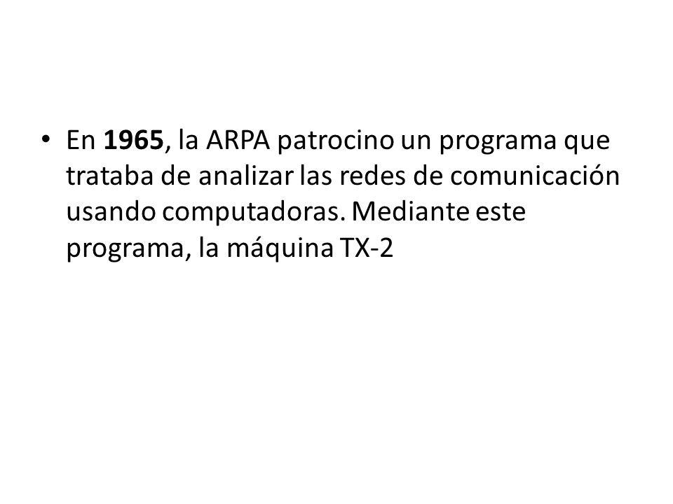 En 1965, la ARPA patrocino un programa que trataba de analizar las redes de comunicación usando computadoras.