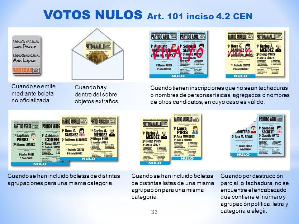 VOTOS NULOS Art. 101 inciso 4.2 CEN