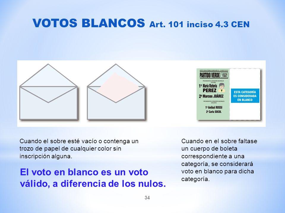 VOTOS BLANCOS Art. 101 inciso 4.3 CEN