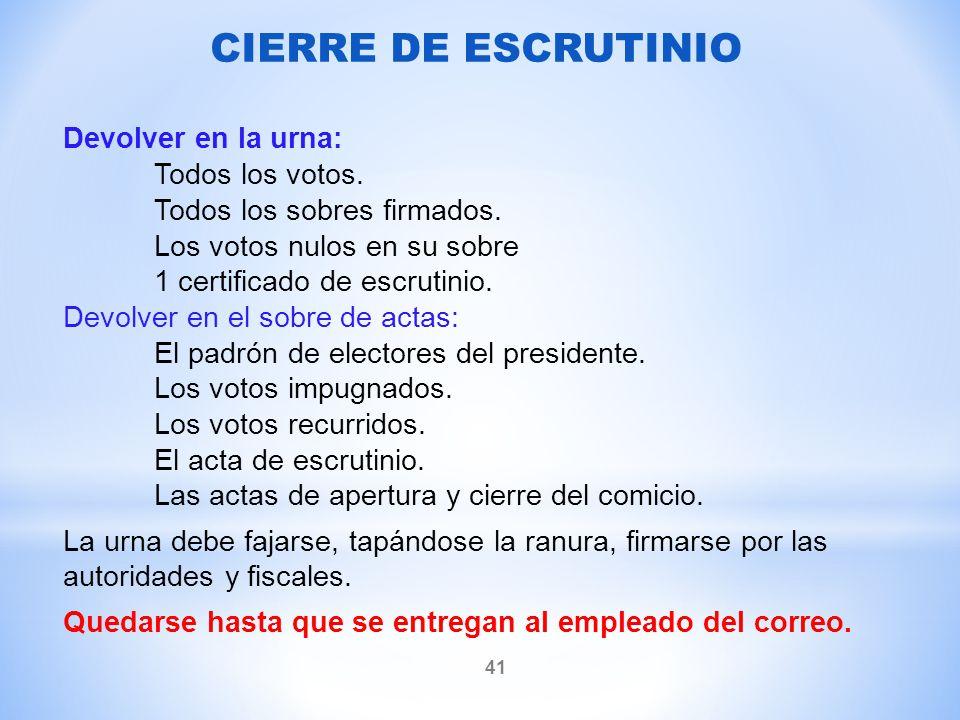 CIERRE DE ESCRUTINIO