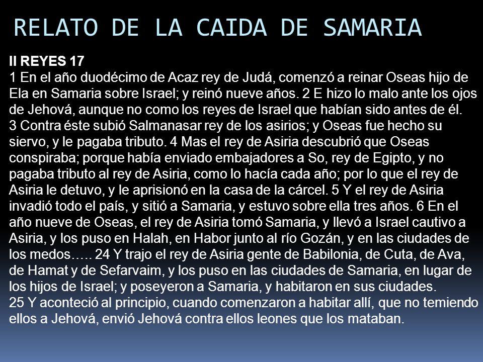 RELATO DE LA CAIDA DE SAMARIA