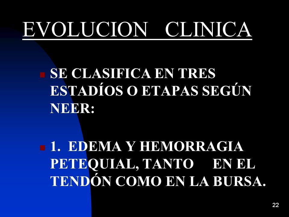 EVOLUCION CLINICA SE CLASIFICA EN TRES ESTADÍOS O ETAPAS SEGÚN NEER: