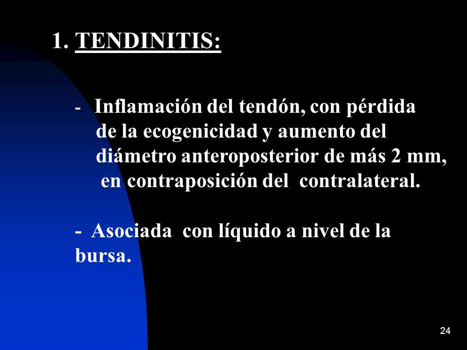 TENDINITIS: - Inflamación del tendón, con pérdida de la ecogenicidad y aumento del diámetro anteroposterior de más 2 mm, en contraposición del contralateral.
