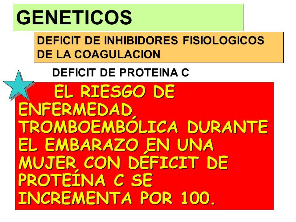 GENETICOS DEFICIT DE INHIBIDORES FISIOLOGICOS DE LA COAGULACION. DEFICIT DE PROTEINA C.