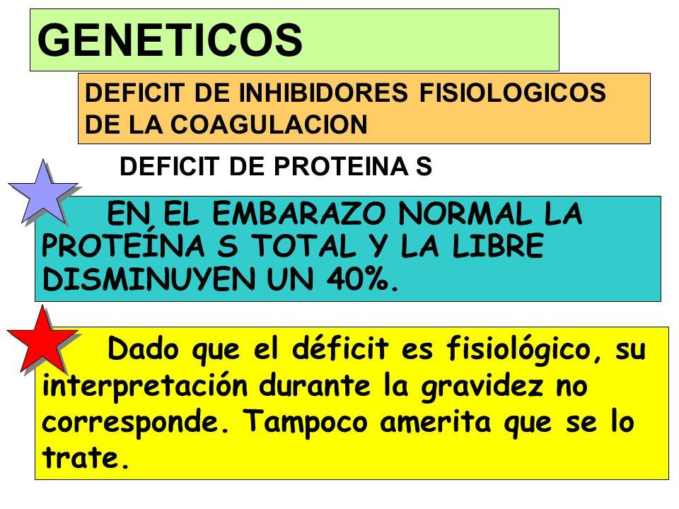 GENETICOS DEFICIT DE INHIBIDORES FISIOLOGICOS DE LA COAGULACION. DEFICIT DE PROTEINA S.