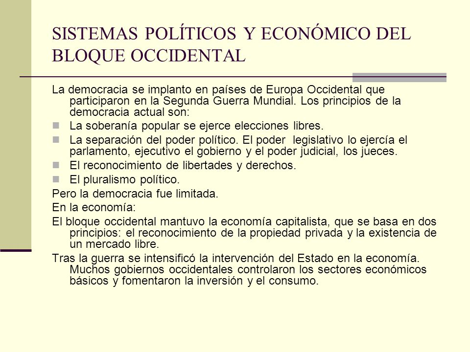 SISTEMAS POLÍTICOS Y ECONÓMICO DEL BLOQUE OCCIDENTAL