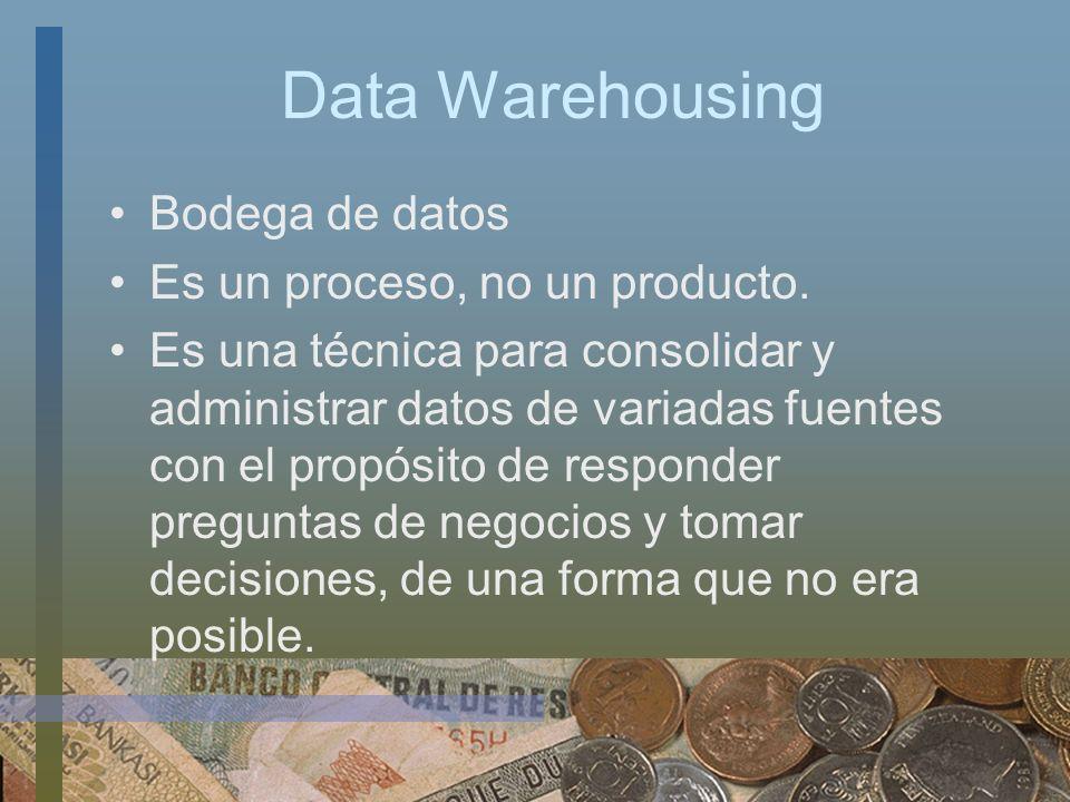 Data Warehousing Bodega de datos Es un proceso, no un producto.
