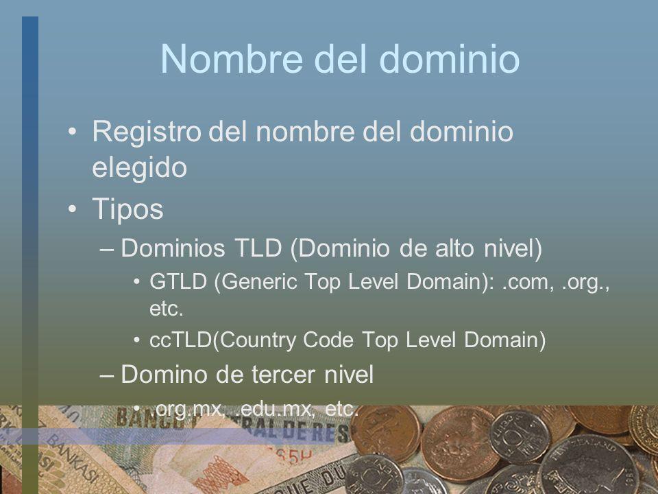 Nombre del dominio Registro del nombre del dominio elegido Tipos