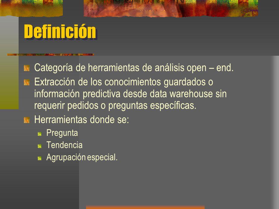 Definición Categoría de herramientas de análisis open – end.