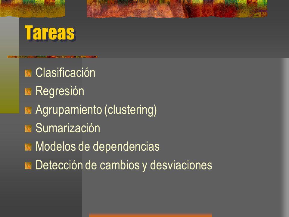 Tareas Clasificación Regresión Agrupamiento (clustering) Sumarización