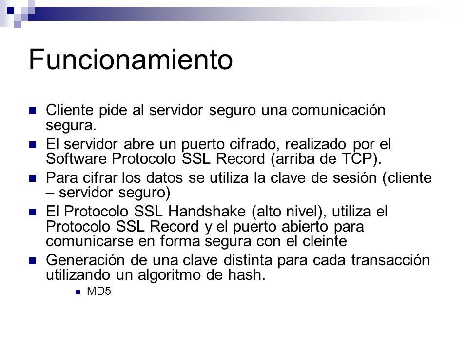 Funcionamiento Cliente pide al servidor seguro una comunicación segura.