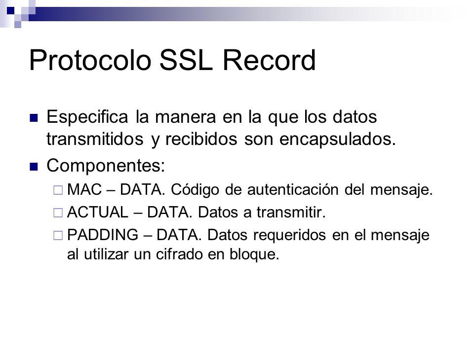 Protocolo SSL Record Especifica la manera en la que los datos transmitidos y recibidos son encapsulados.