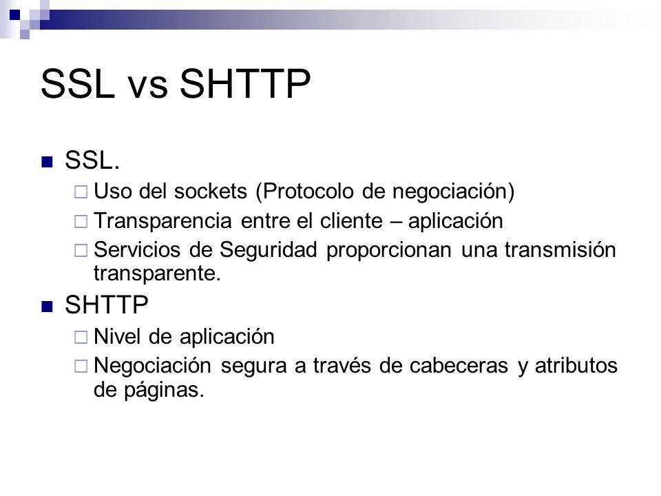 SSL vs SHTTP SSL. SHTTP Uso del sockets (Protocolo de negociación)