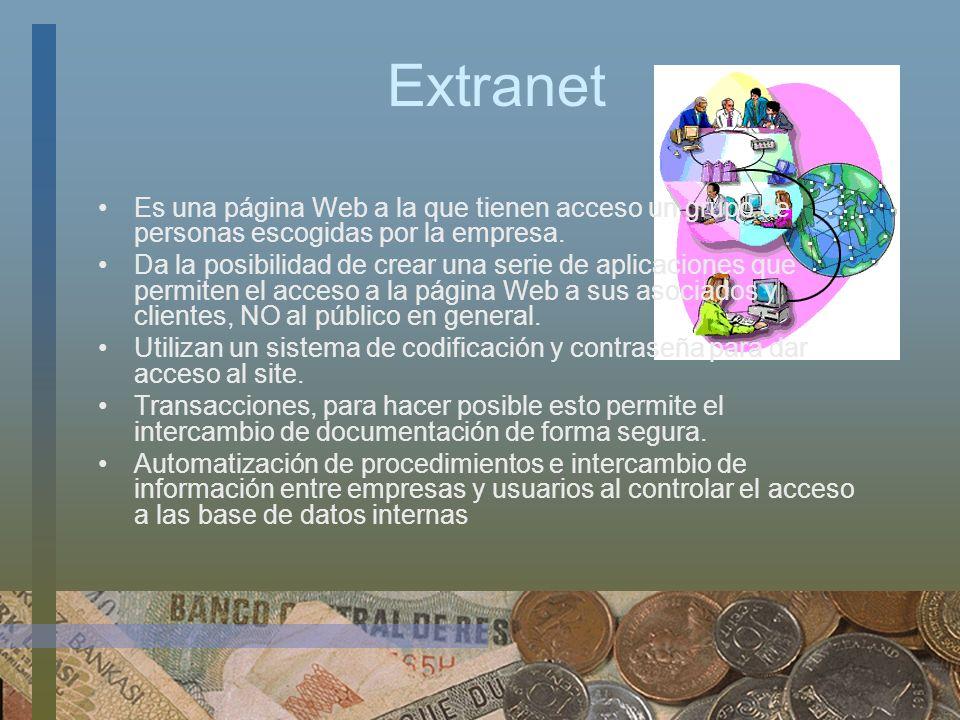 Extranet Es una página Web a la que tienen acceso un grupo de personas escogidas por la empresa.