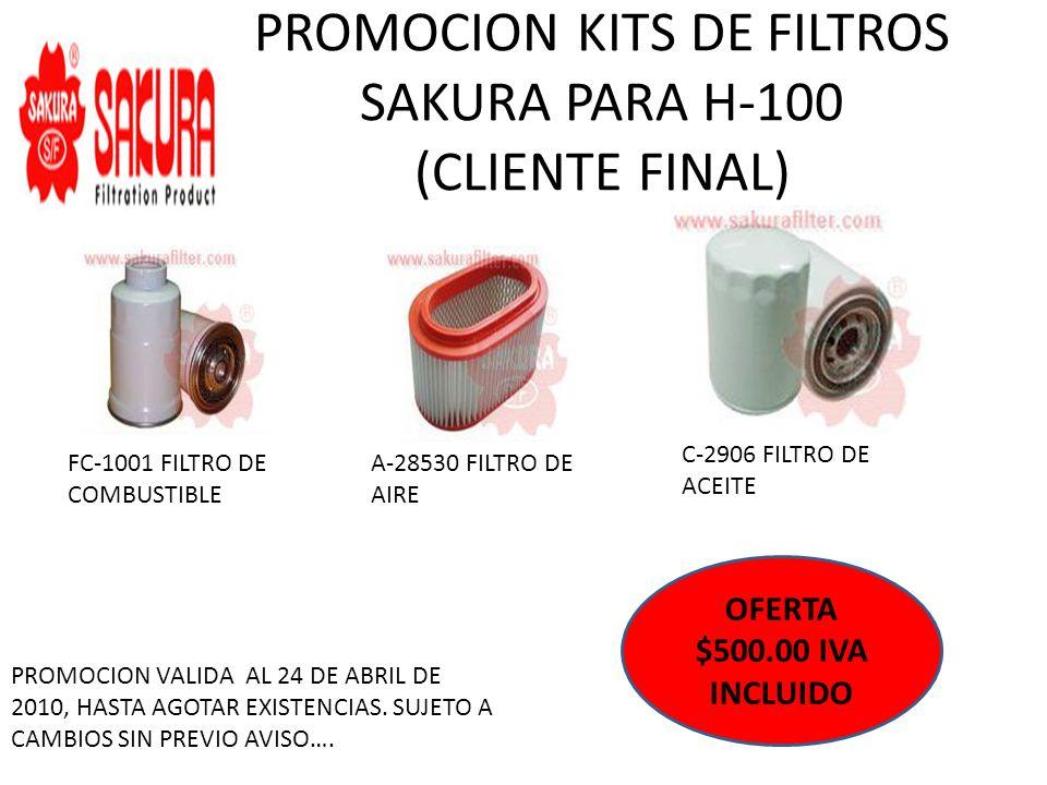 PROMOCION KITS DE FILTROS SAKURA PARA H-100 (CLIENTE FINAL)