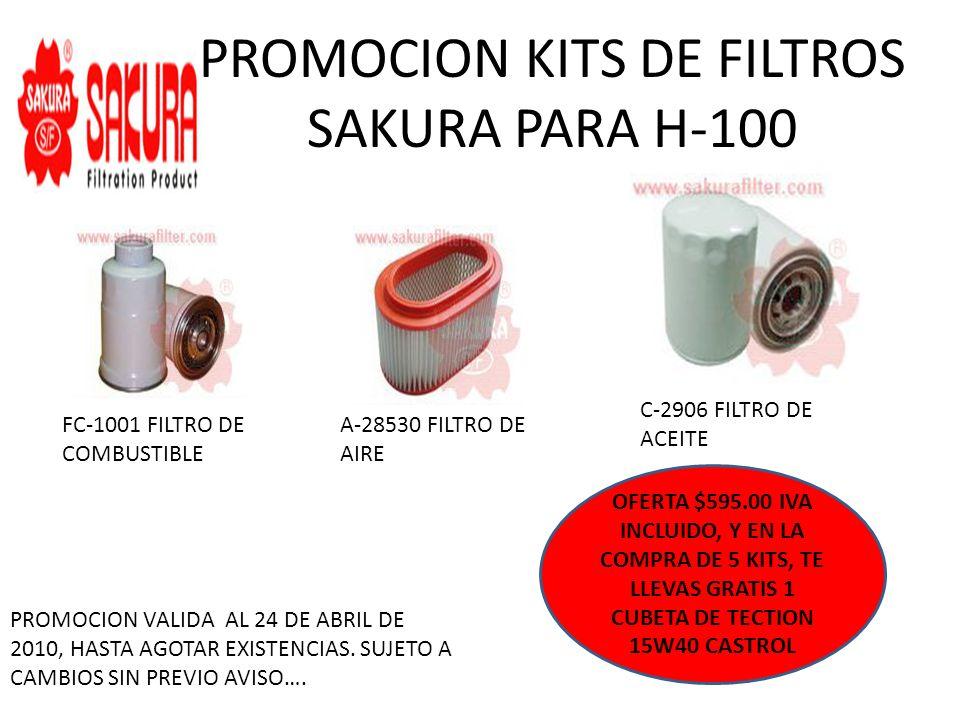 PROMOCION KITS DE FILTROS SAKURA PARA H-100