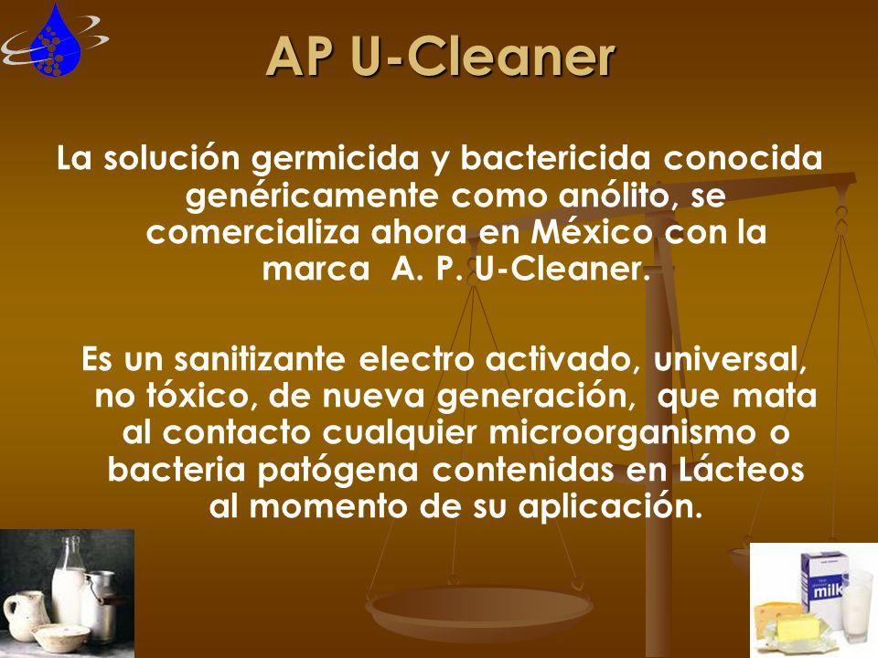 AP U-Cleaner La solución germicida y bactericida conocida genéricamente como anólito, se comercializa ahora en México con la marca A. P. U-Cleaner.