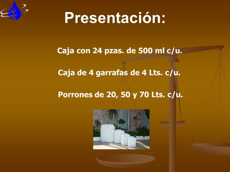Presentación: Caja con 24 pzas. de 500 ml c/u.
