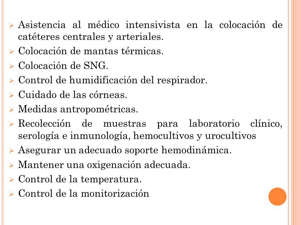 Asistencia al médico intensivista en la colocación de catéteres centrales y arteriales.