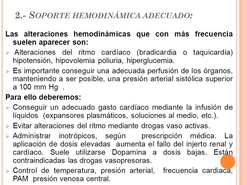 2.- Soporte hemodinámica adecuado:
