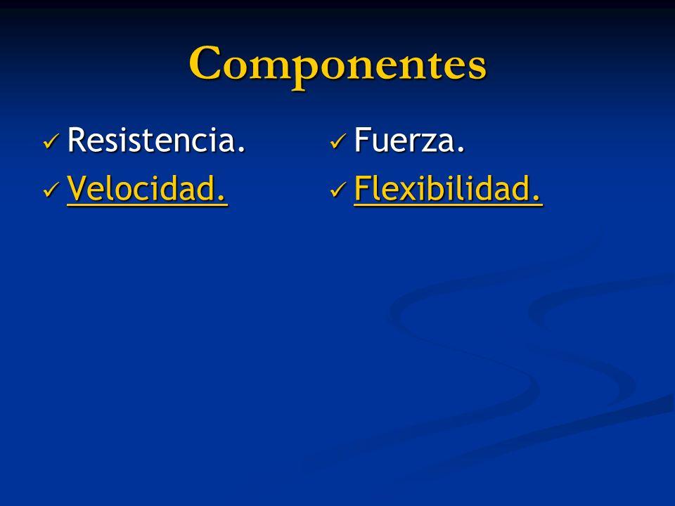 Componentes Resistencia. Velocidad. Fuerza. Flexibilidad.