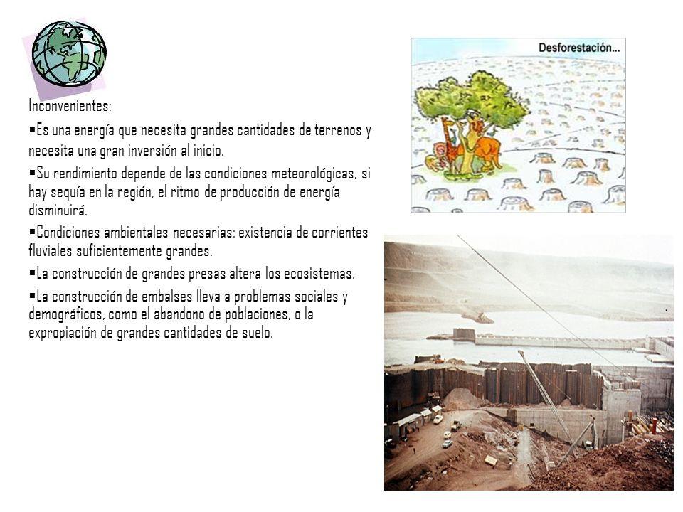 Inconvenientes:Es una energía que necesita grandes cantidades de terrenos y necesita una gran inversión al inicio.