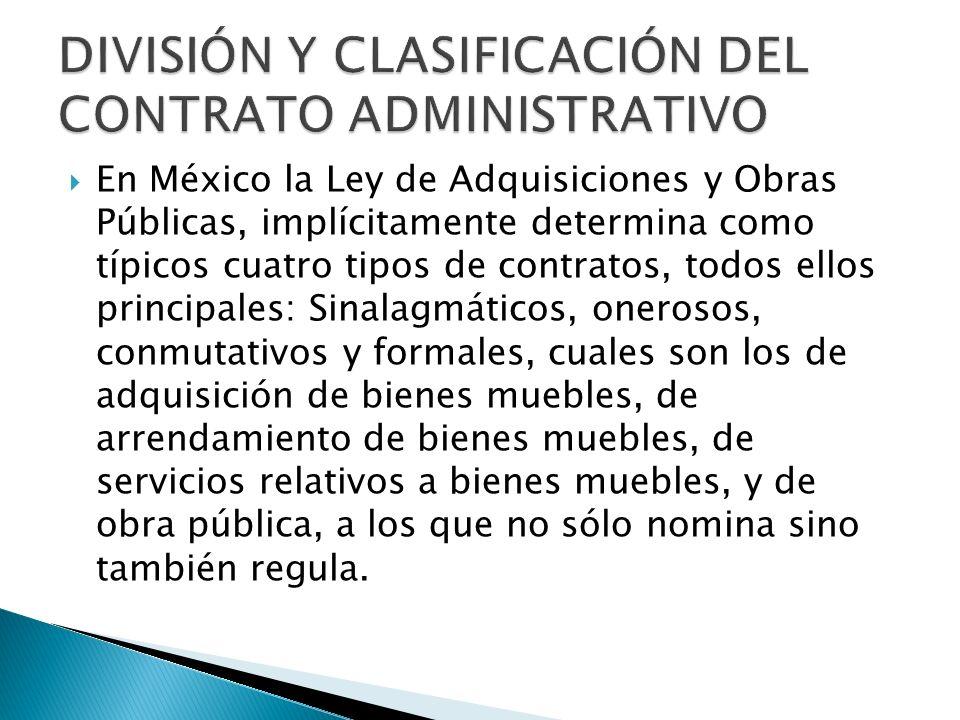 DIVISIÓN Y CLASIFICACIÓN DEL CONTRATO ADMINISTRATIVO