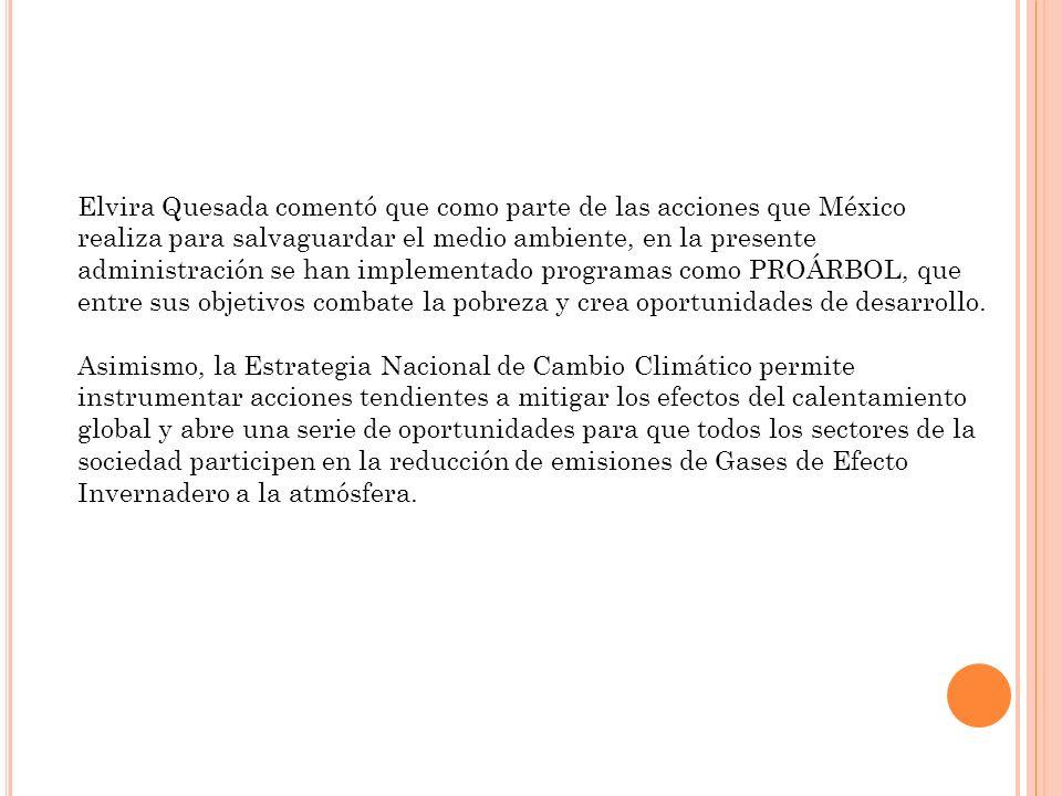 Elvira Quesada comentó que como parte de las acciones que México realiza para salvaguardar el medio ambiente, en la presente administración se han implementado programas como PROÁRBOL, que entre sus objetivos combate la pobreza y crea oportunidades de desarrollo.