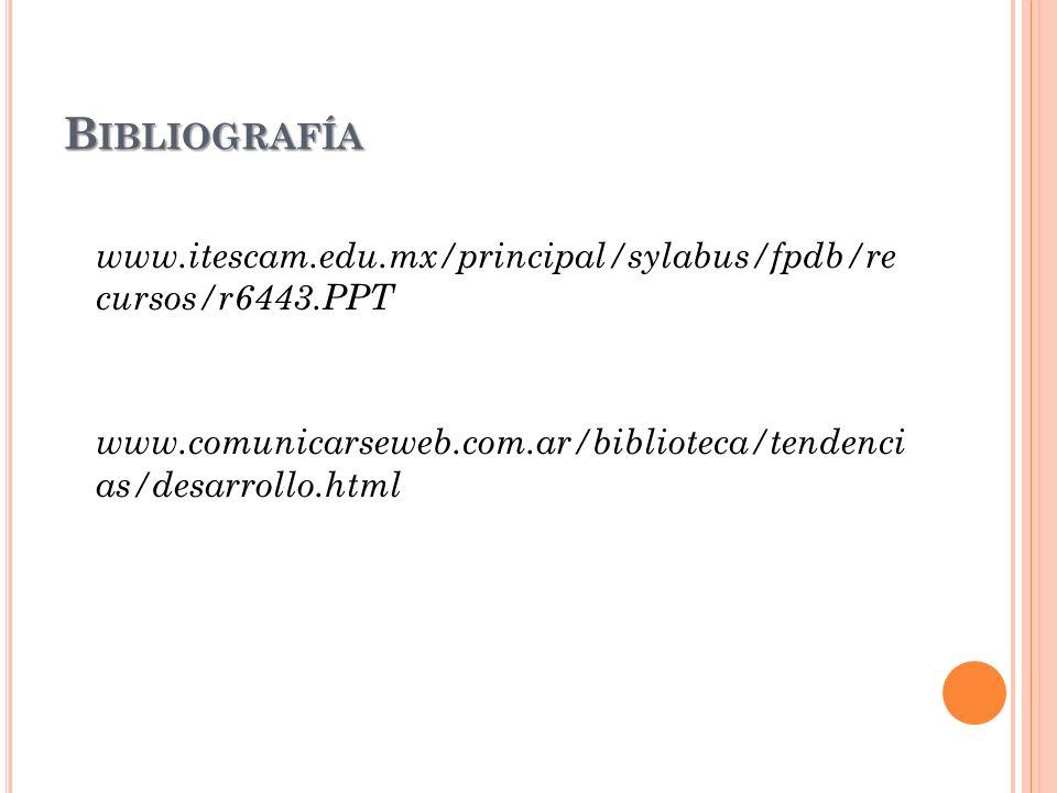 Bibliografía www.itescam.edu.mx/principal/sylabus/fpdb/re cursos/r6443.PPT www.comunicarseweb.com.ar/biblioteca/tendenci as/desarrollo.html