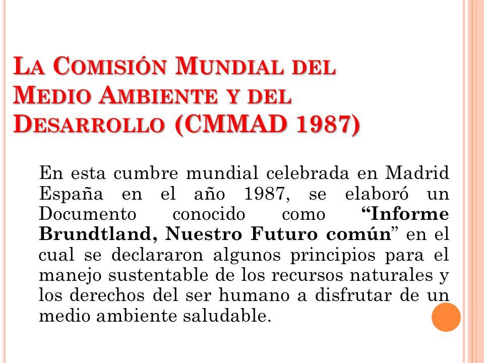 La Comisión Mundial del Medio Ambiente y del Desarrollo (CMMAD 1987)