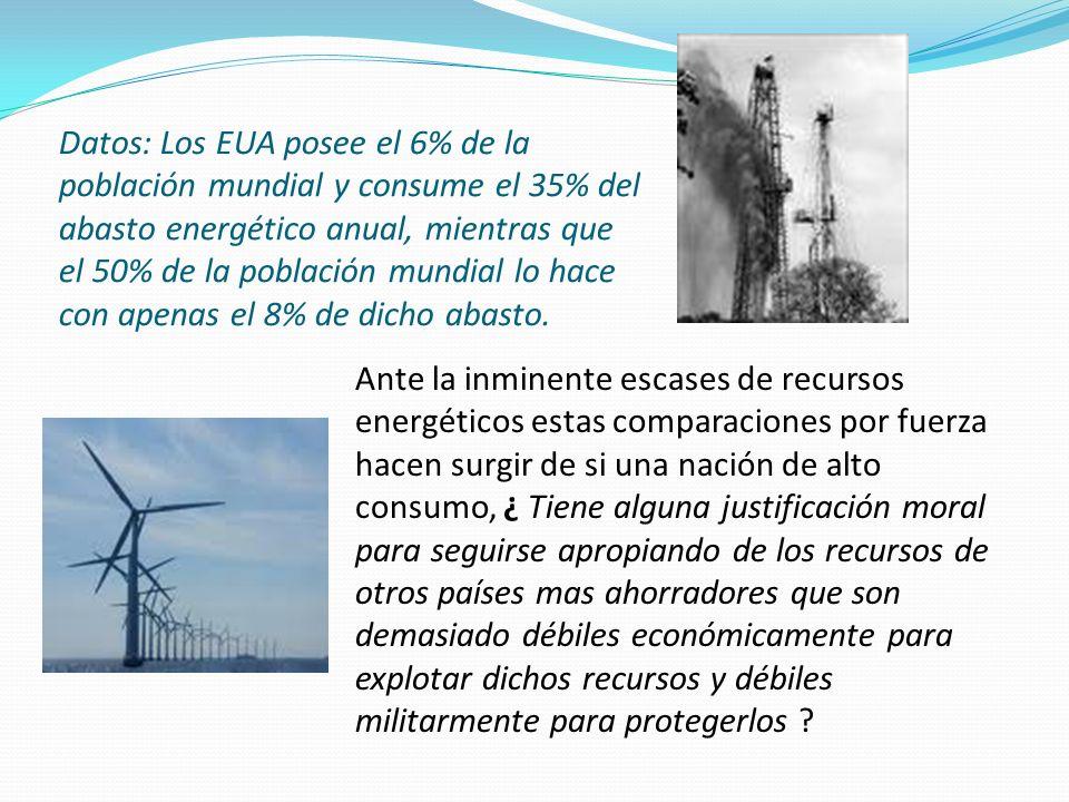 Datos: Los EUA posee el 6% de la población mundial y consume el 35% del abasto energético anual, mientras que el 50% de la población mundial lo hace con apenas el 8% de dicho abasto.