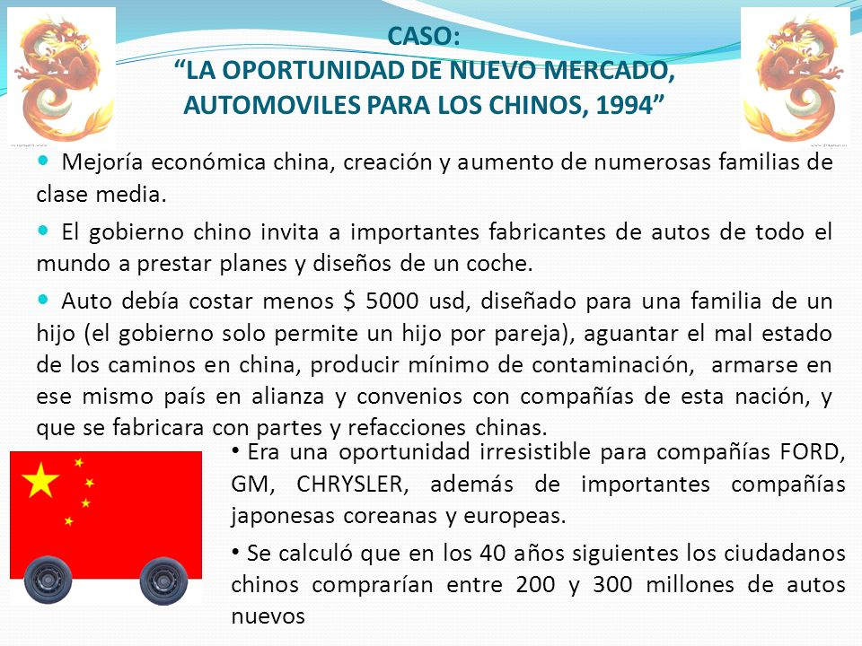 CASO: LA OPORTUNIDAD DE NUEVO MERCADO, AUTOMOVILES PARA LOS CHINOS, 1994