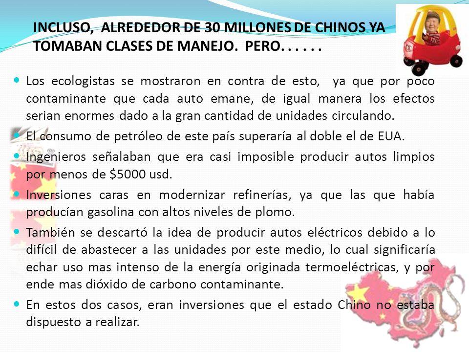 INCLUSO, ALREDEDOR DE 30 MILLONES DE CHINOS YA TOMABAN CLASES DE MANEJO. PERO. . . . . .