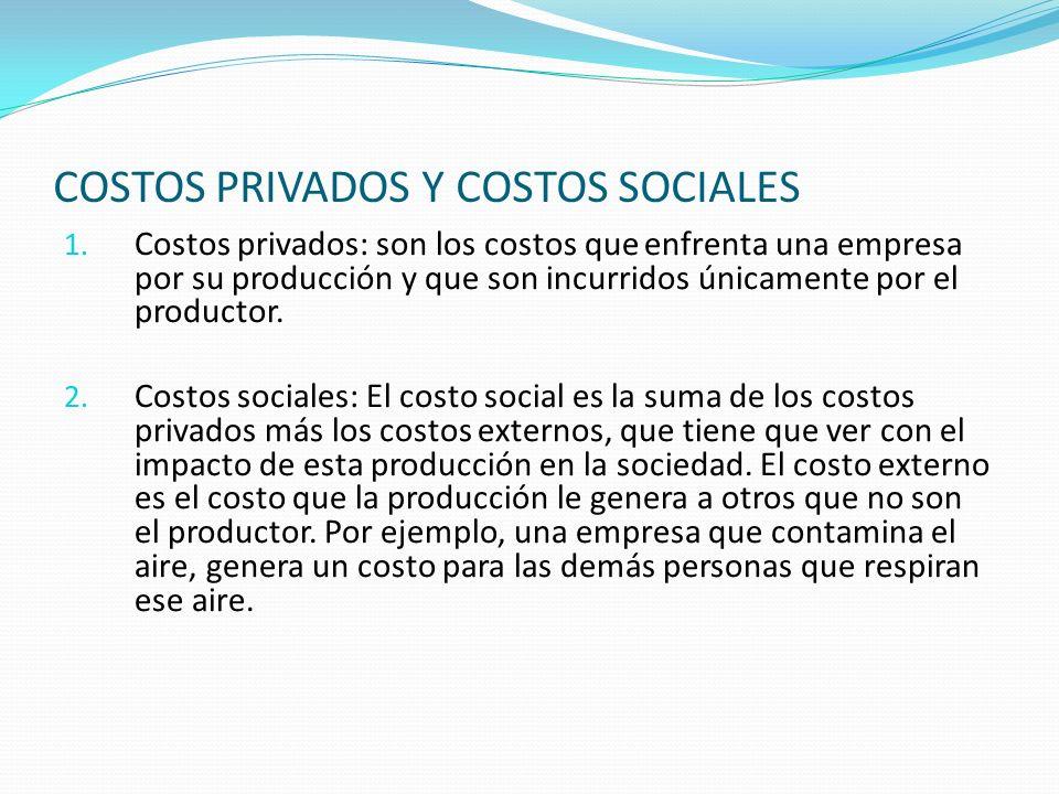 COSTOS PRIVADOS Y COSTOS SOCIALES