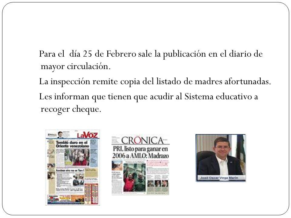 Para el día 25 de Febrero sale la publicación en el diario de mayor circulación.