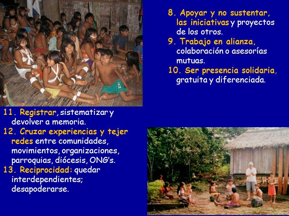 8. Apoyar y no sustentar, las iniciativas y proyectos de los otros.