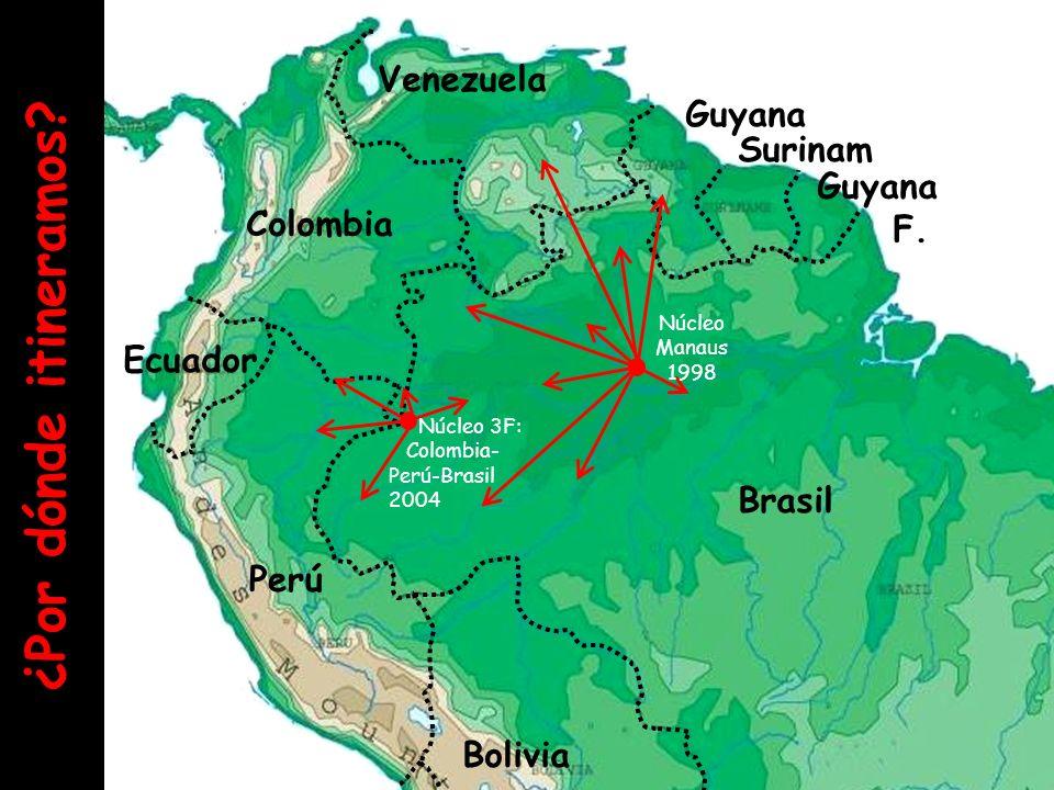 ¿Por dónde itineramos Venezuela Surinam Guyana F. Colombia Ecuador