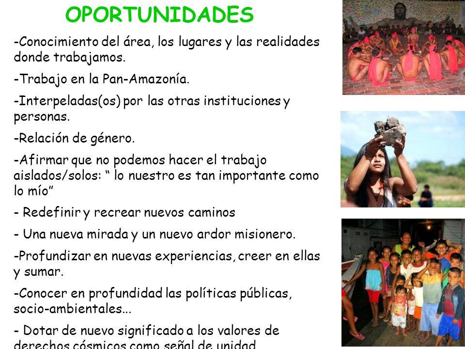 OPORTUNIDADES Conocimiento del área, los lugares y las realidades donde trabajamos. Trabajo en la Pan-Amazonía.