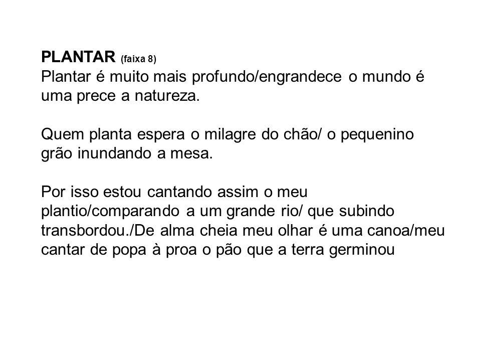 PLANTAR (faixa 8)Plantar é muito mais profundo/engrandece o mundo é uma prece a natureza.